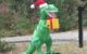Dinosaur in Santa Hat